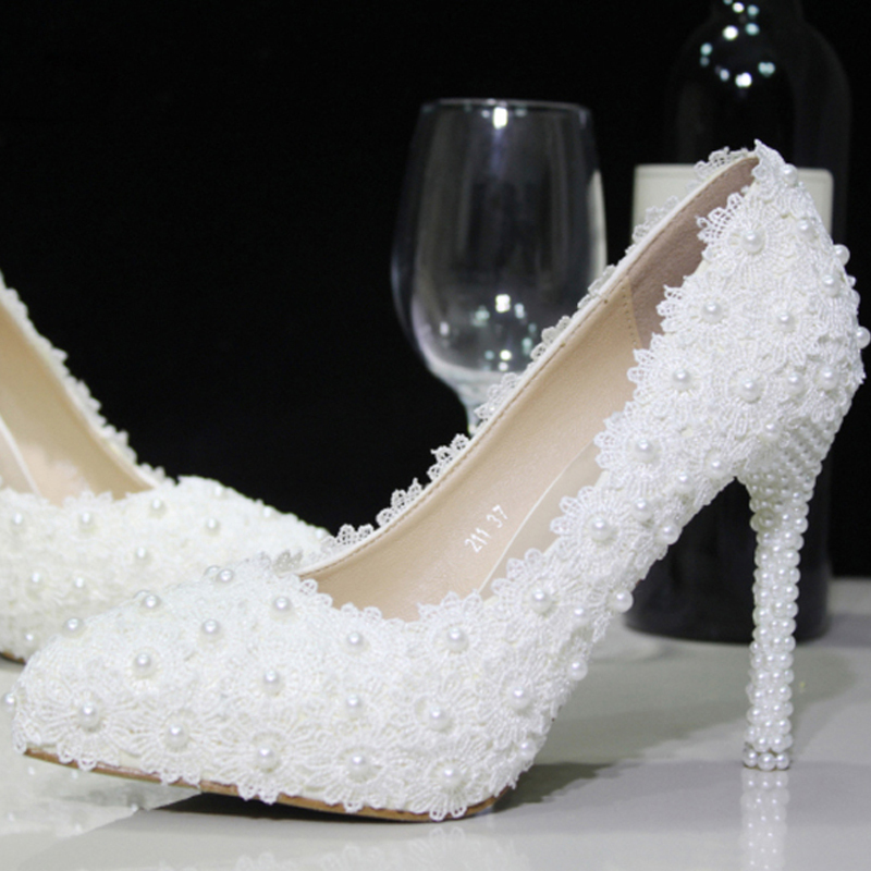Gorgeous Nicest White Lace Flower Formal Shoes High Heel Evening Dress Pumps Pearl Bridal Wedding Shoes Free Shipping new arrival white wedding shoes pearl lace bridal bridesmaid shoes high heels shoes dance shoes women pumps free shipping party