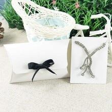 Pillow box with Jewelry Set Display Card   Kraft Pendant  Card Diy  Black Gift  Box1lot:50hemp strings+50box+Necklace Card