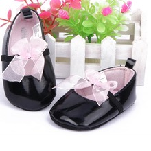 Toddler Baby Girls Pink Silk Bowtie Knot Shoes Elastic Strapppy Soft Sole Baby First Walkers 0