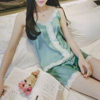 Vrouwen Kleding voor Zomer Shorts Sets V-hals Nachtkleding Satijn Pyjama vrouwen Pyjama Spaghetti Lace Sexy Pajama Set AB001