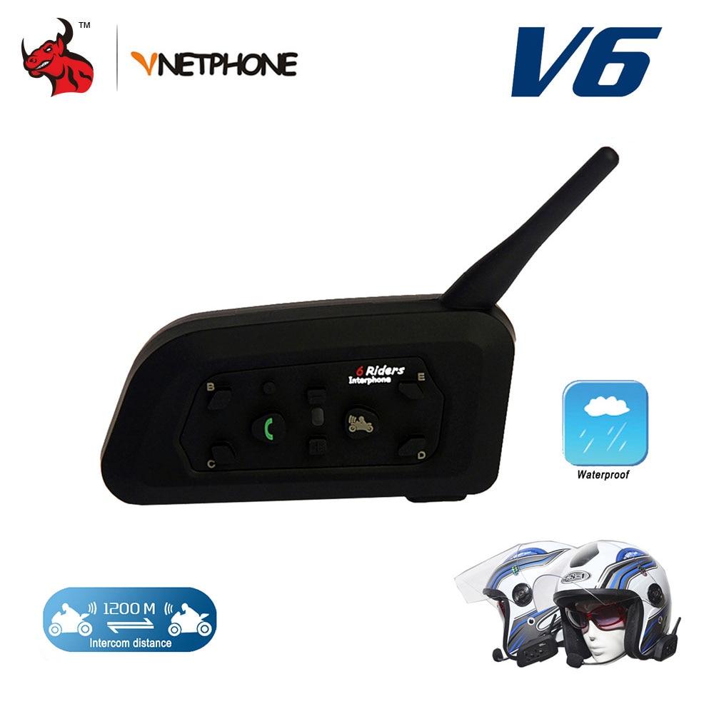 цена на VNETPHON 1200M BT Bluetooth Motorcycle Helmet Intercom 6 Riders Full Duplex Wireless Bluetooth Communication Interphone Headset