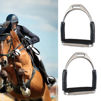 1 Pair Racing Outdoor Stainless Steel Stirrups Saddle Pedals Safety Flexible Horse Riding Harness Supplies Folding Equipment