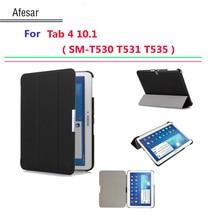 Caliente la cubierta ultra delgada para samsung galaxy tab 4 10.1 smart cubierta case auto sleep sm-t530 t531 t535 tablet flip case con soporte