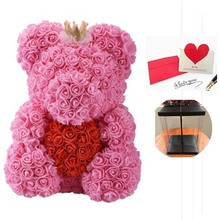 Valentine Gifts 40cm Rose Bear Artificial Flowers with Gift Box Wedding Decor Flores Artificiales Para Decoracion Hogar