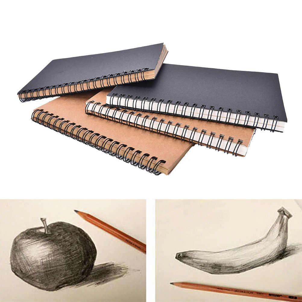 Folhas 50 Hot Diray para Desenho Pintura Grafite Esboço do livro Em Branco Sketchbook Kraft caderno espiral Escola Escritório Suprimentos