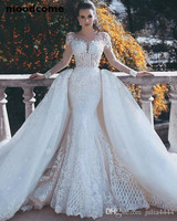 2018 Vintage Mermaid Wedding Dresses Overskirts With Detachable Train Lace Pearls Sheer Neck Long Sleeves Backless