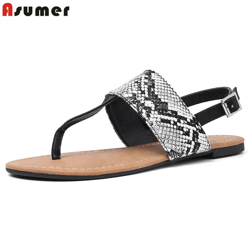 ASUMER Plus size 36-50 HOT 2019 Flat sandals snake printing pu leather casual shoes ladies flip flops summer female shoesASUMER Plus size 36-50 HOT 2019 Flat sandals snake printing pu leather casual shoes ladies flip flops summer female shoes