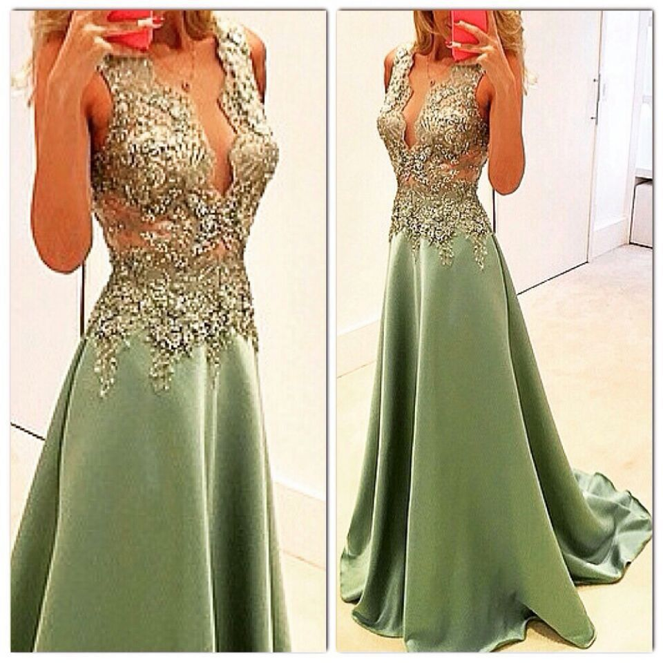 Hot Sale 2019 A-Line Deep V-Neck Sheer Top Beaded   Prom     Dress   Floor Length Sexy Evening Gown Evening   Dresses   Fast Shipping