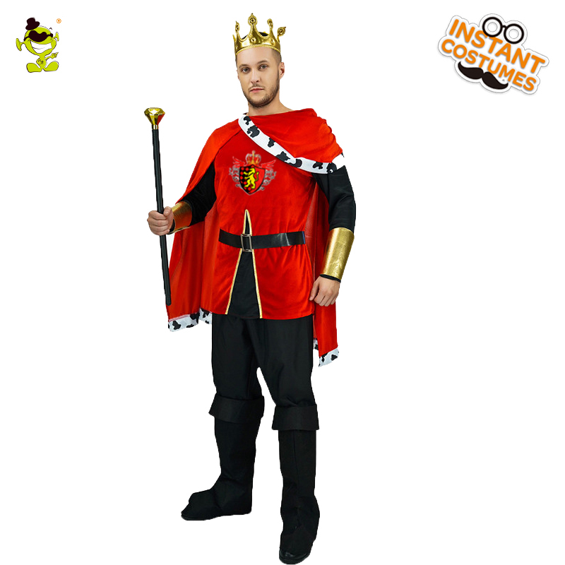 Men's Europe Medieval King Costume Cosplay Costumes Prince Imperial Crown Halloween Carnival Party Role Play King Costumes