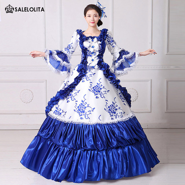 6f70f97de1d4 2017 Brand New Blue Lace Printed Marie Antoinette Masquerade Ball Gown  Medieval Southern Rococo Belle Dress Theatrical Clothing