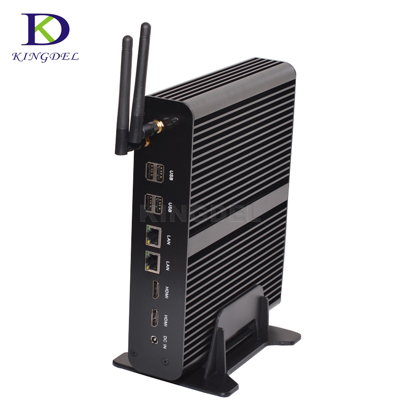 Tiny PC Core i7 5550U 5th Gen Broadwell Mini pc Windows 10 Fanless Computer TV Box Dual LAN HD Display HTPC 300M Wifi HDMI VGA 1u server computer copper radiator cooler cooling heatsink for intel lga 2011 active cooling