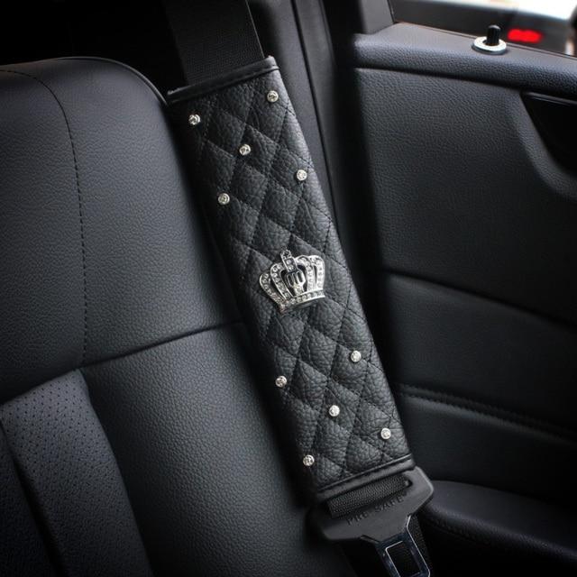 1 Pair Crystal Crown Car Safety Seat Belt Cover Leather Shoulder ...