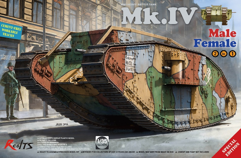 RealTS Takom 1:35 WWI Heavy Battle Tank Mk.IV Male Female 2in1 Plastic Model Kit #2076