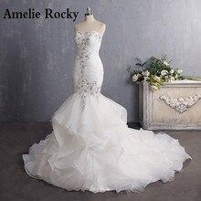 Vestido De Novia 2020 Vintage Beading Mermaid Wedding Dress Long Organza Embroidery Wedding Gown Sexy Backless Bridal Dress