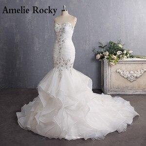 Image 1 - Vestido De Novia 2020 Vintage Beading Mermaid Wedding Dress Long Organza Embroidery Wedding Gown Sexy Backless Bridal Dress