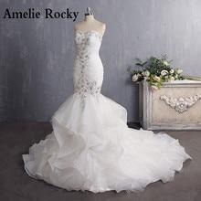 Vestido De Novia 2020 Vintage Perlen Meerjungfrau Hochzeit Kleid Lange Organza Stickerei Brautkleid Sexy Backless Braut Kleid