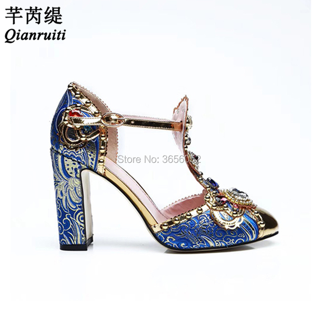 Qianruiti Designer Luxury Blue Print Diamond Pearl Party Wedding Pumps  Ladies Sandals Metal Round Toe T-strap Block Heel Shoes 52814a92bb7d