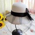Nuevo llega la playa sombreros de Sun para mujeres del arco del cordón neta del verano y del nudo del arco de paja de diseño accesorios regalos