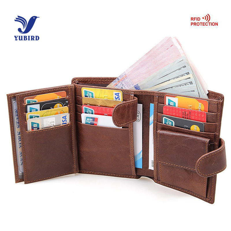 Trifold Brand Wallet Men Genuine Cowhide Leather RFID Wallet Short Wallet Vintage Purse Men Coin Big Capacity Card Holder Brown