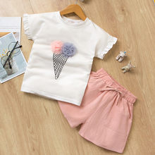 2Pcs Toddler Kids Summer Girls Clothes 2 3 Year Fashion Print Top T-Shirt+Solid Shorts Girls Outfits Kids Clothing For Girls Set(China)