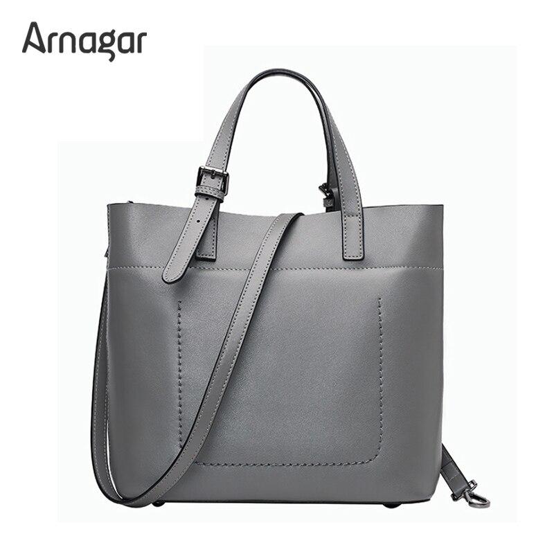 Arnagar 2017 genuine leather bags luxury handbags women bags designer women messenger bags lady bucket tote bag bolsa sac a main