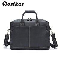 BOSIKAS Men Briefcase Male Totes Men's Bag man Genuine Leather Laptop Bag for Business Briefcases Men leather bags briefcases