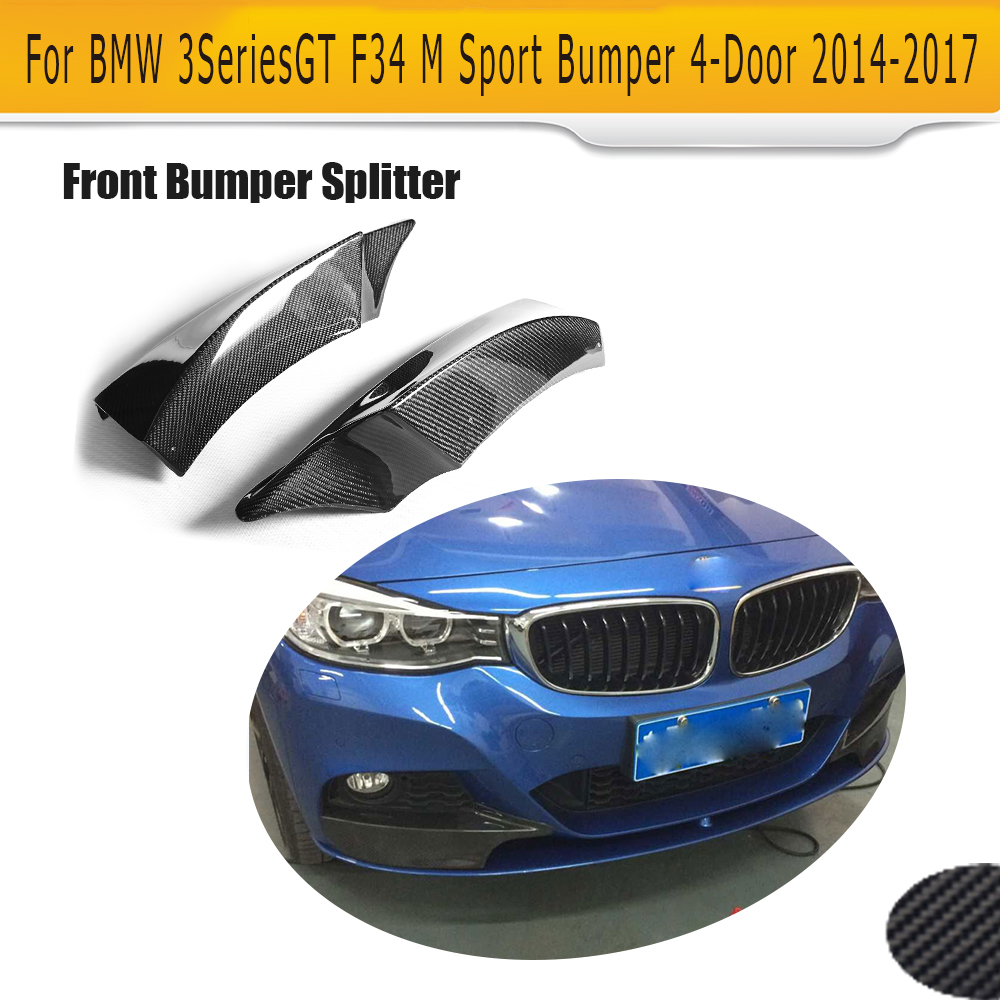 Carbon Fiber front bumper Lip Splitter Spoiler for BMW 3 Series GT F34 M Sport Bumper 4 Door 14-17 Grey FRP 2PC 335i 340i GT