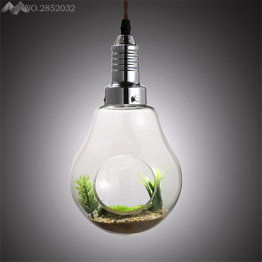 American Pastoral style glass pendant lights plant bulb Modern single Headpendant lamp living room bedroom home lighting decor