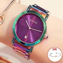 Для женщин часы Красочные Montre Femme GUOU женские часы браслет часов для Для женщин часы Для женщин календарь Saat
