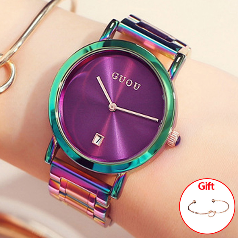 GUOU Women's Watches Colorful Montre Femme 2018 Ladies Watch Bracelet Watches For Women Clock Women Calendar reloj mujer saat sinobi luxury diamond watch women watches metal mesh ultra thin women s watches ladies watch clock saat montre femme reloj mujer