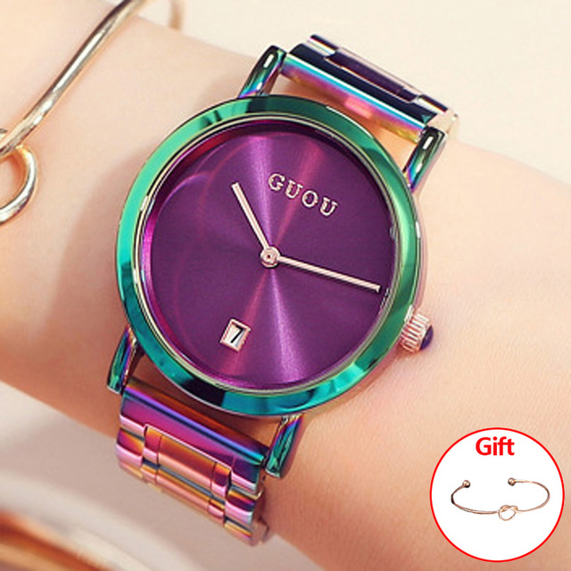 GUOU Women's Watches Colorful Montre Femme 2018 Ladies Watch Bracelet Watches Fo