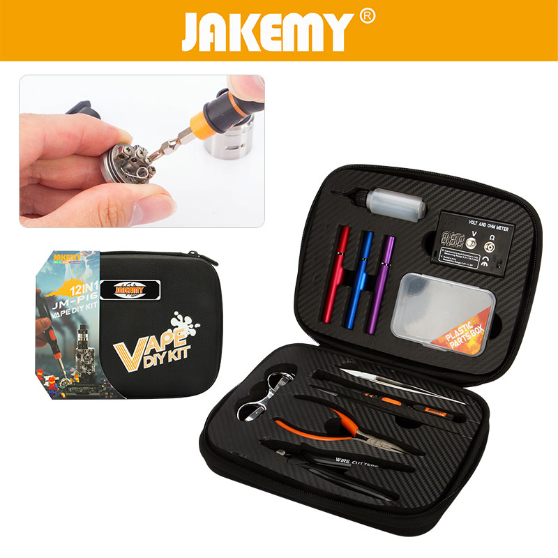 JAKEMY 12 In 1 DIY Electronic Cigarette Kit with Screwdriver Plier Tweezer Atomizer Coil Tool Bag Accessories Vape Hand Tool Set