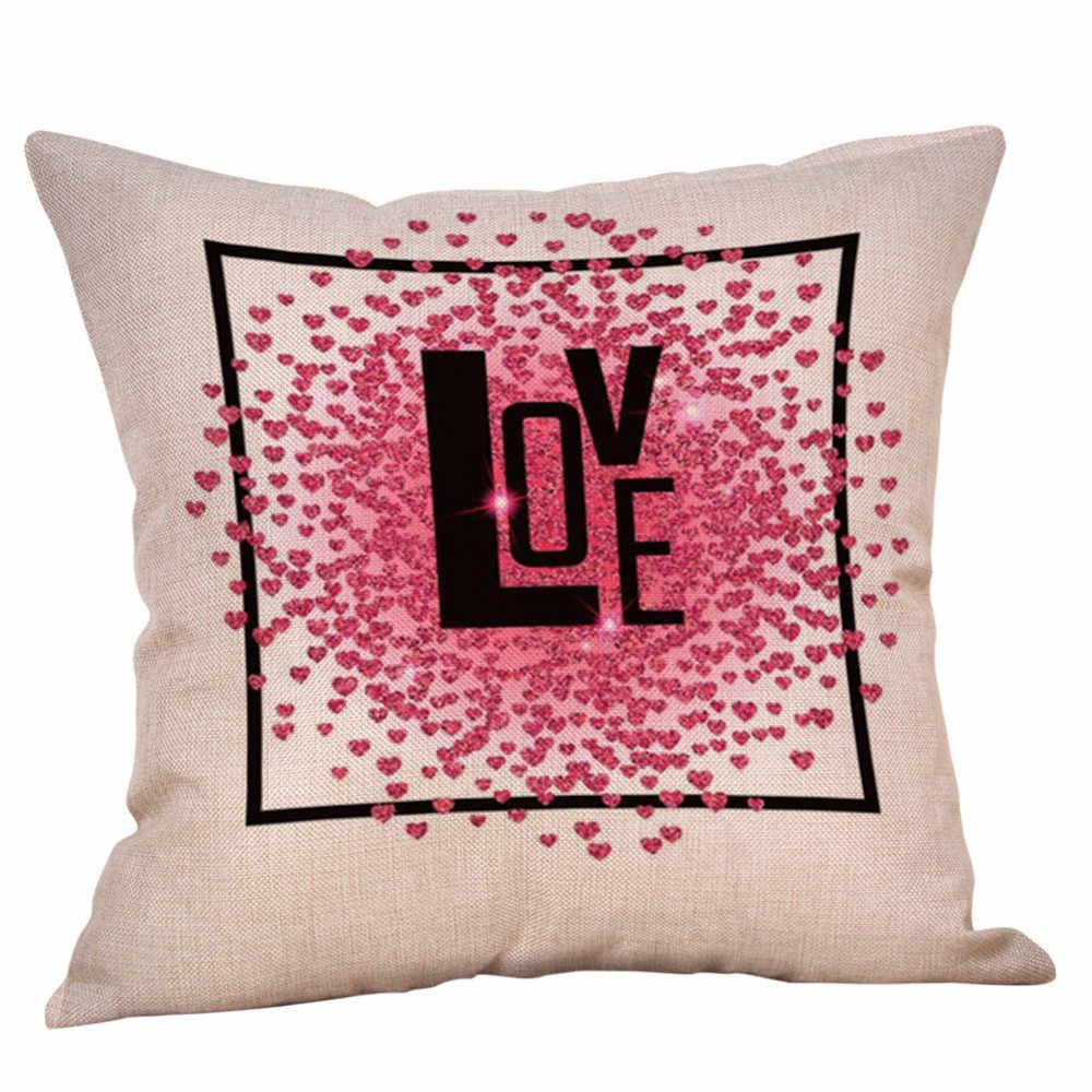 سعيد عيد الحب إلكتروني طباعة Solf وسادة زلة يغطي ديكور المنزل مربع 45 سنتيمتر X 45 سنتيمتر أكياسها غطاء وسادة أريكة كتان 10Dec 11