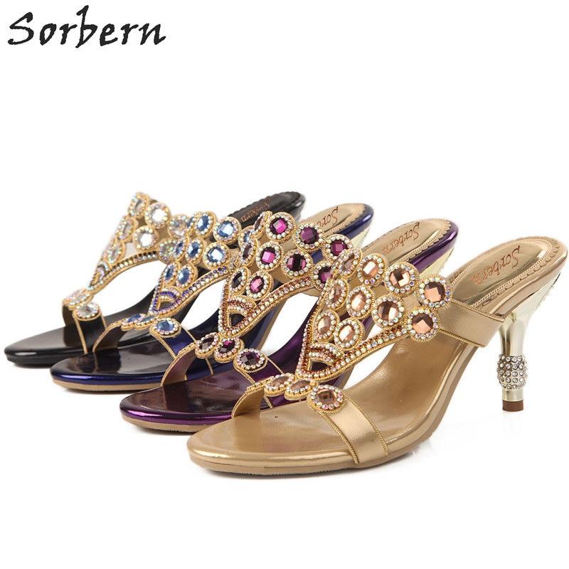 Sorbern Women Crystal Sandals Shoes 7.5CM Heels Hot Sale Sandalia Feminina Beading Party Ladies Shoes Cheap Modest Sandalias lanyuxuan 2017 new hot sale sandals