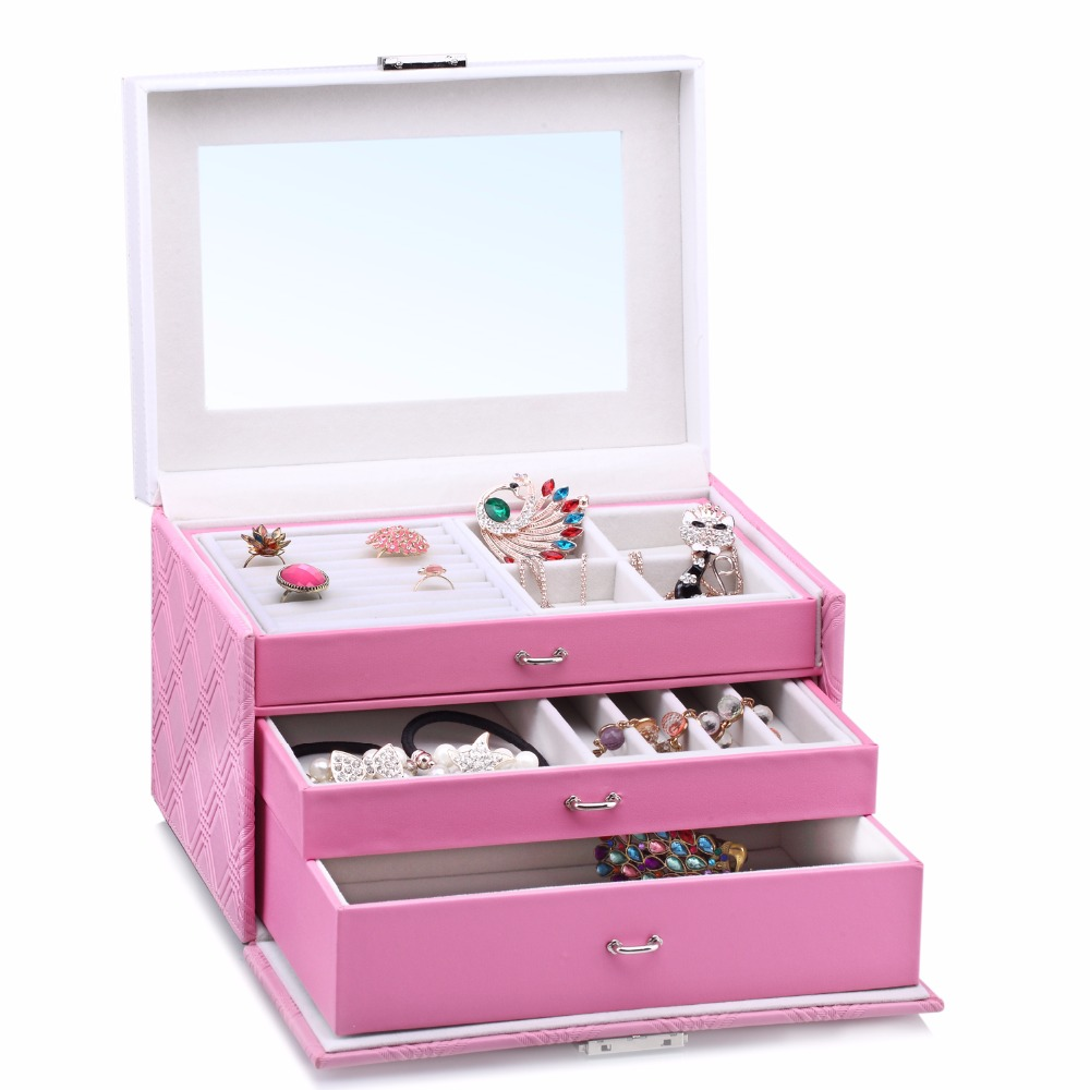 ROWLING Large Jewellery Storage Boxes Rings Velvet Mirror Boxes Bracelet Earring 2 Drawers Display Case Girls
