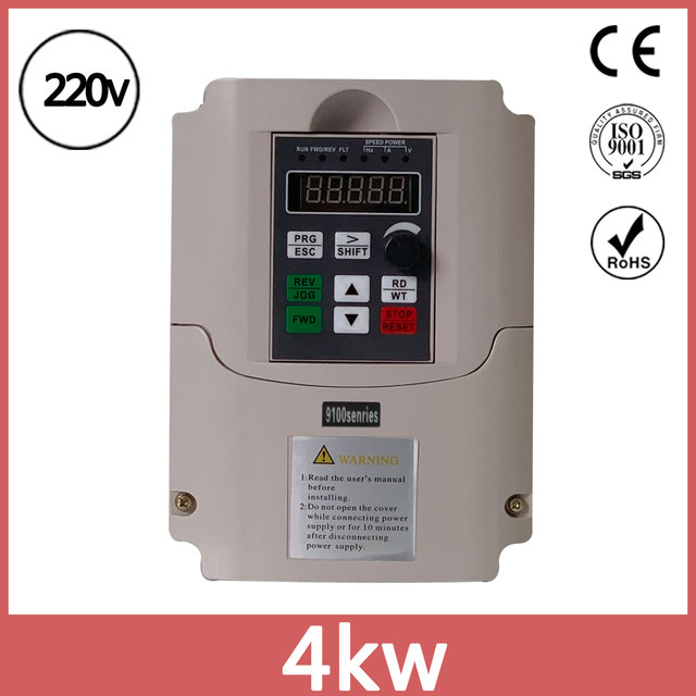 220V 4KW Single Phase input and 3 Output Frequency Converter / Adjustable  Speed Drive Inverter VFD
