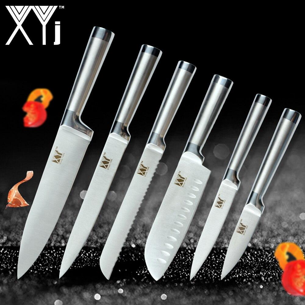 XYj Edelstahl Küchenmesser Set Obst Schäl Utility Santoku Chef Schneiden Brot Japanischen Küche Messer Set Zubehör