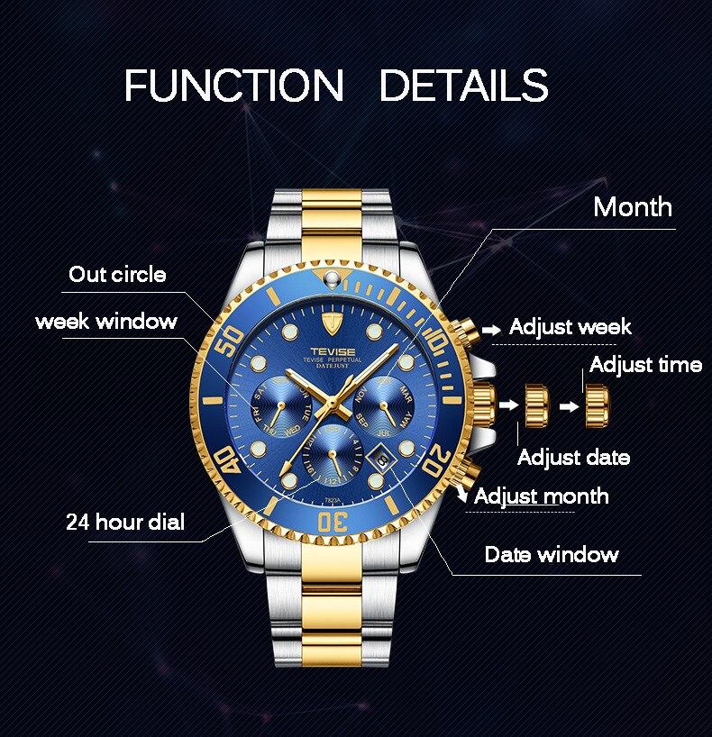 Tevise Relógio Automático Dos Homens Relógios Mecânicos