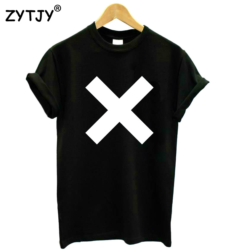 X Cross Print Women T-shirt Bomuld Casual Hipster T-Shirt For Girl White Black Grey Top Tees Big Size S-XXXL Drop Ship TZ200-307