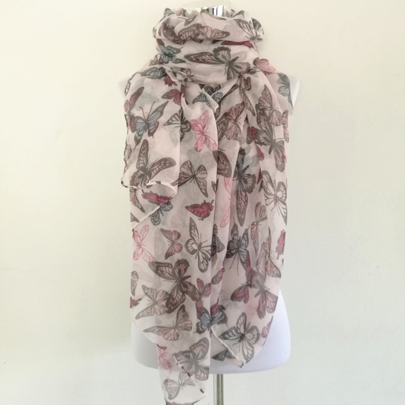 New Fashion Women Butterfly Print Soft ring   Scarf   Cotton   Scarves   Neck   Wrap   Shawl Stole Spring Autumn infinity   Scarves   for Women