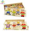 Медвежонок Переодеться Деревянные Игрушки Комбинационной Игры Туалетный Головоломки Обучения Развивающие Игрушки Подарки Для Детей