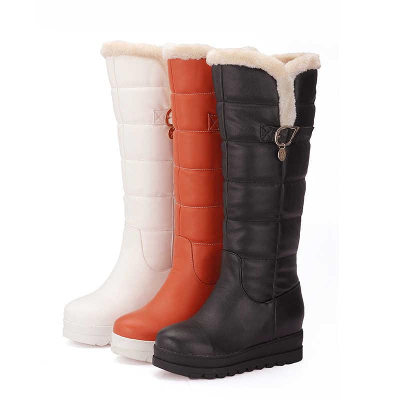 9cae19159852 ... KARINLUNA Large size 33-43 Winter shoes women Warm Fur comfort black  white Snow Boots
