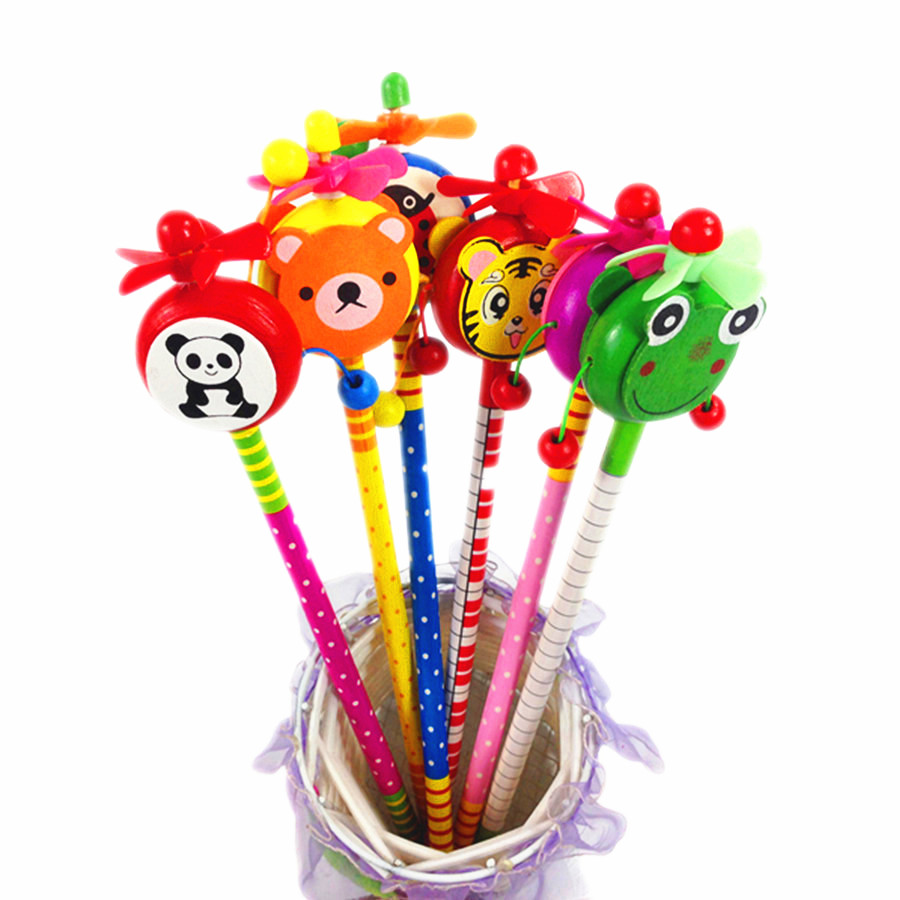 24pcs/lot Novelty Cartoon Windmill Series Non-toxic Lead Free Wooden Pencils For School Students Writting Prize HB For Drawing