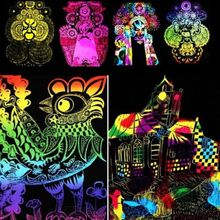 10 Sheets 16K Colorful Magic Scratch Art Painting Paper With Drawing Stick Gift