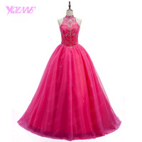 YQLAN Debutante Crystals Quinceanera Gowns Dresses Sweet 16 Dress Ball Gowns Halter Tulle Lace Up Vestidos