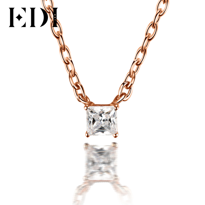 Classic 0.1ct Princess Cut Natural Diamond Wedding Pendant For Women 18K Solid Rose Gold Pendant 16' Necklace Chain Jewelry