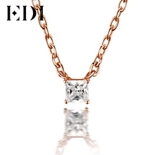 EDI Classic 0.1ct Princess Cut Natural Diamond Wedding Pendant For Women 18K Solid Rose Gold Pendant 16′ Necklace Chain Jewelry