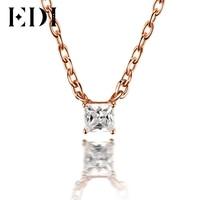 EDI Classic 0.1ct Princess Cut Natural Diamond Wedding Pendant For Women 18K Solid Rose Gold Pendant 16' Necklace Chain Jewelry