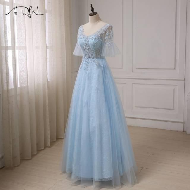 e5adfa0405c Online Shop ADLN Cheap Romantic Evening Dress Princess Sleeves Applique  Beaded Light Blue A-line Evening Party Gowns Robes De Soiree
