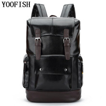 YOOFISH  Vintage Men's Backpack PU Black Bag Men Travel Backpack 15' Laptop High Quality Male Back bag Teenager bags  schoolbag цена в Москве и Питере